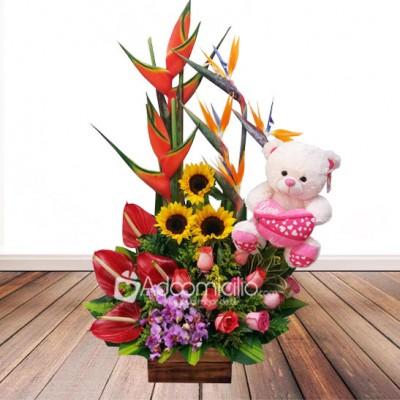 Arreglo Floral Peluche Regalos De Amor Y Amistad Cali