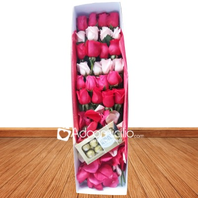 de flores San Valentín Cali Caja x 24 rosas de 2 colores + ferrero x 8