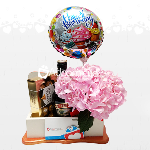 Regalos a domicilio en Cali Hortensia dulce y licor Happy Birthday