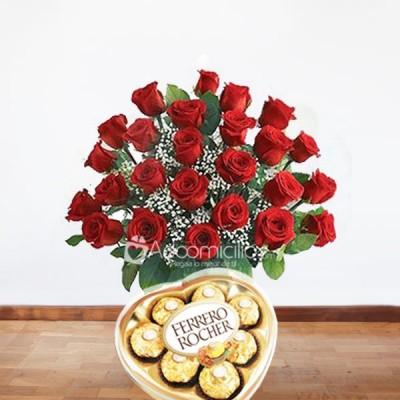 Arreglos Florales A Domicilio En Bogota Ramo De Flores Con 24 Rosas Rojas Con Chocolates Ferrero