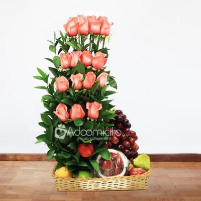 Arreglos Florales A Domicilio En Bogota Arreglo Frutero Con Rosas
