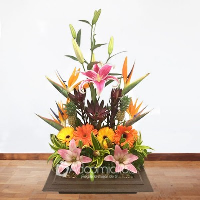 Arreglos Florales A Domicilio En Bogota Arreglo Floral Exotico Lirios Gerbera Y Proteas