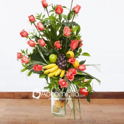 Flores Bogota Arreglo Floral Con Frutas En Cilindro