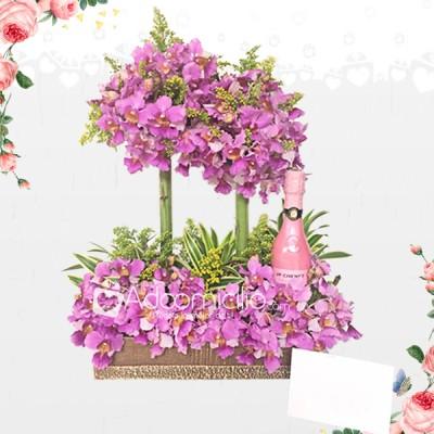 Arreglos Florales Para Mamá Orquideas Con Vino A Domicilio En Cali