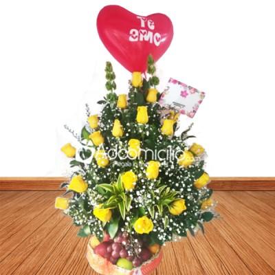 Arreglos Florales A Domicilio En Bucaramanga Rosas Amarillas Y Frutas