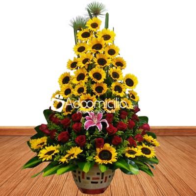 Arreglos Florales Cali Arbolito De Girasoles Y Rosas