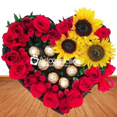 Arreglos Florales Amor Y Amistad A Domicilio En Cali Rosas Girasoles Y Chocolates Con Amor