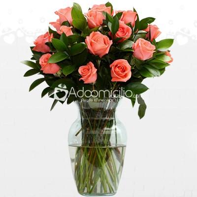 Rosas Elegancia Arreglos Florales De Rosas Salmón En Jarrón A Domicilio En Medellin
