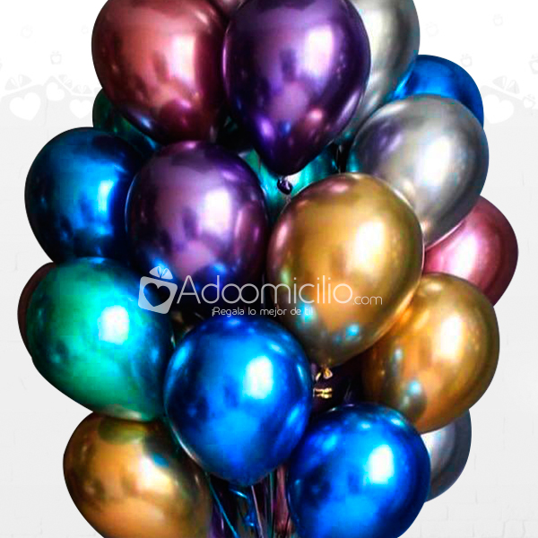 Bouquet x 10 De Globos Chrome A Domicilio En Cartagena